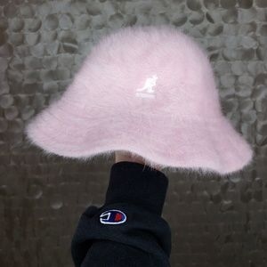 Kanglo blue Adult Pink Furry Bucket Hat one size